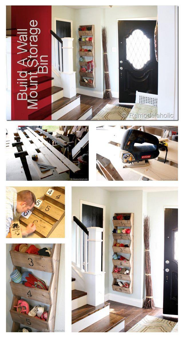 DIY Rustic Wall Storage Bins | Organization | Entry