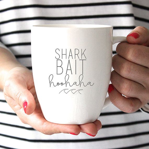 Finding Nemo Inspired Shark Bait HooHaha Ceramic Mug, Quote Mug, Coffee Lover, Tea Lover, Coffee Cup, Coffee Mug, Tea Cup #teamugs