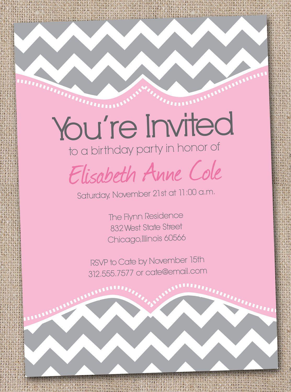 chevron party invite darker gray different wording holidays