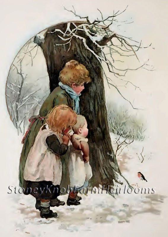 A Robin ~ Harriet Bennet, Children ~ Counted X Cross Stitch Pattern #StoneyKnobFarmHeirlooms #CountedCrossStitch