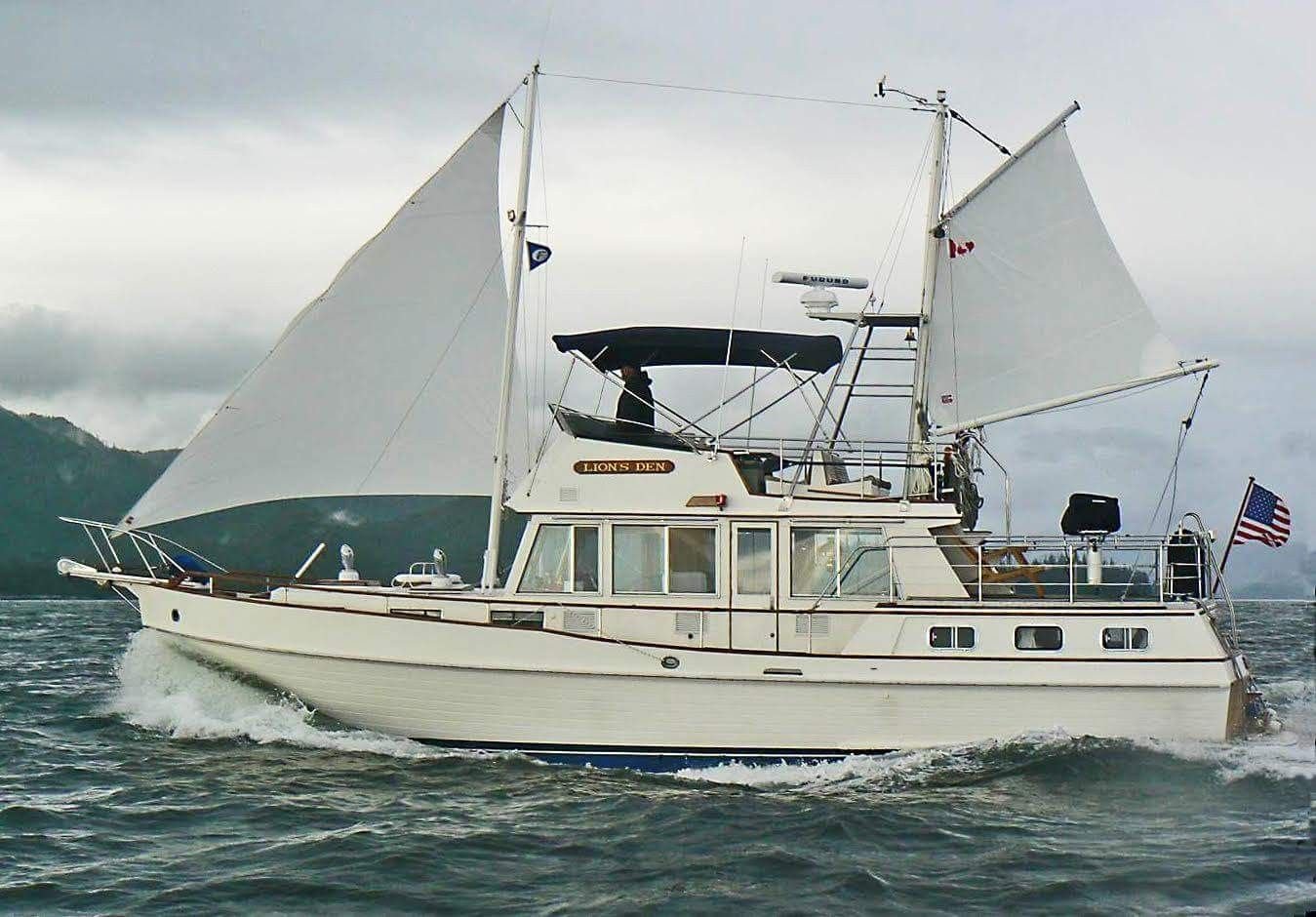 Grand Banks 42 With Sail Owner Tony Fleming Himself Grand Banks Yachts Classic Yachts Sailing