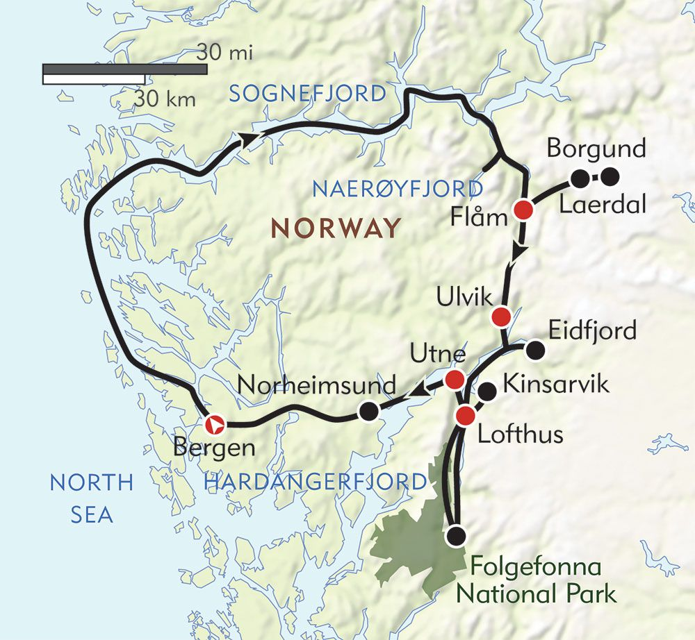 Norways Fjord Country Routemap Norway Cruise Pinterest - Bergen map