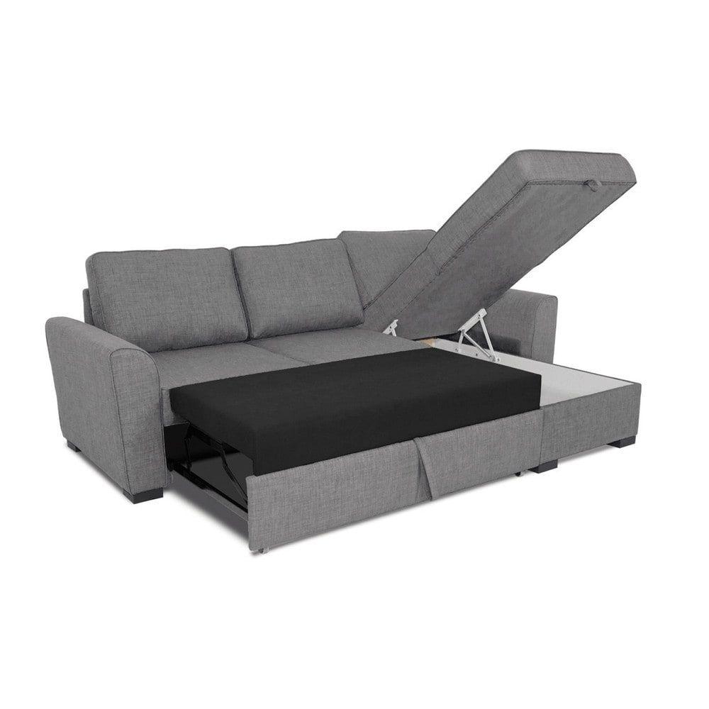 Ausziehbares Ecksofa 3 4 Sitzer Aus Microsuede Braun Antik