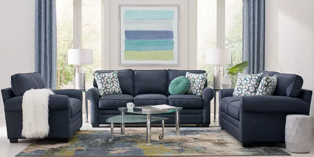 Cindy Crawford Home Bellingham Midnight Textured 7 Pc Living Room In 2020 Blue Living Room Sets Living Room Furniture Living Room Sets