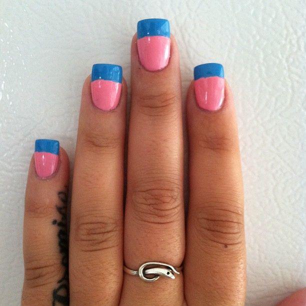Pink And Blue Nail Polish: Pink And Blue Nails