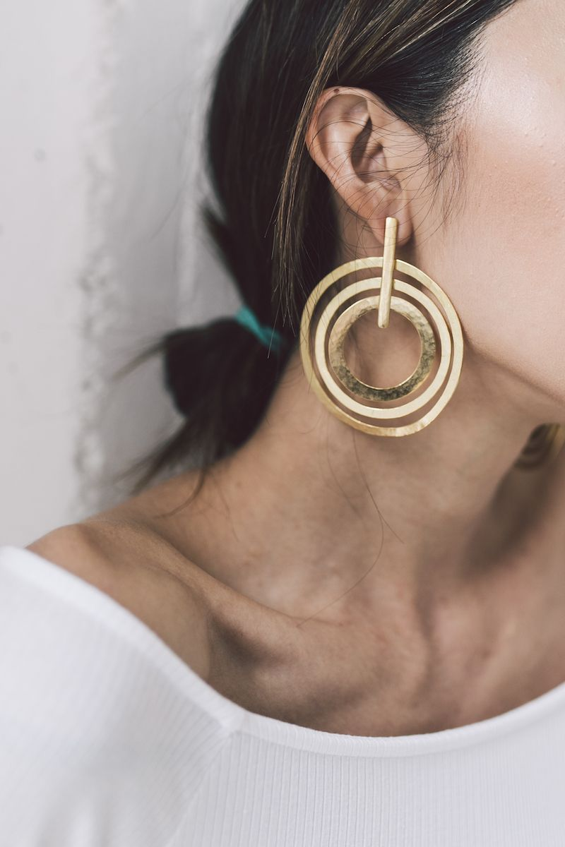 Gold Statement Hoop And Dangle Earrings High Street Branded