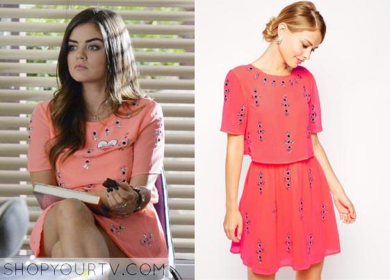 9c6b8ad71b Pretty Little Liars Aria (s05e19) - ASOS Fluro Crop Top Embellished Skater  Dress
