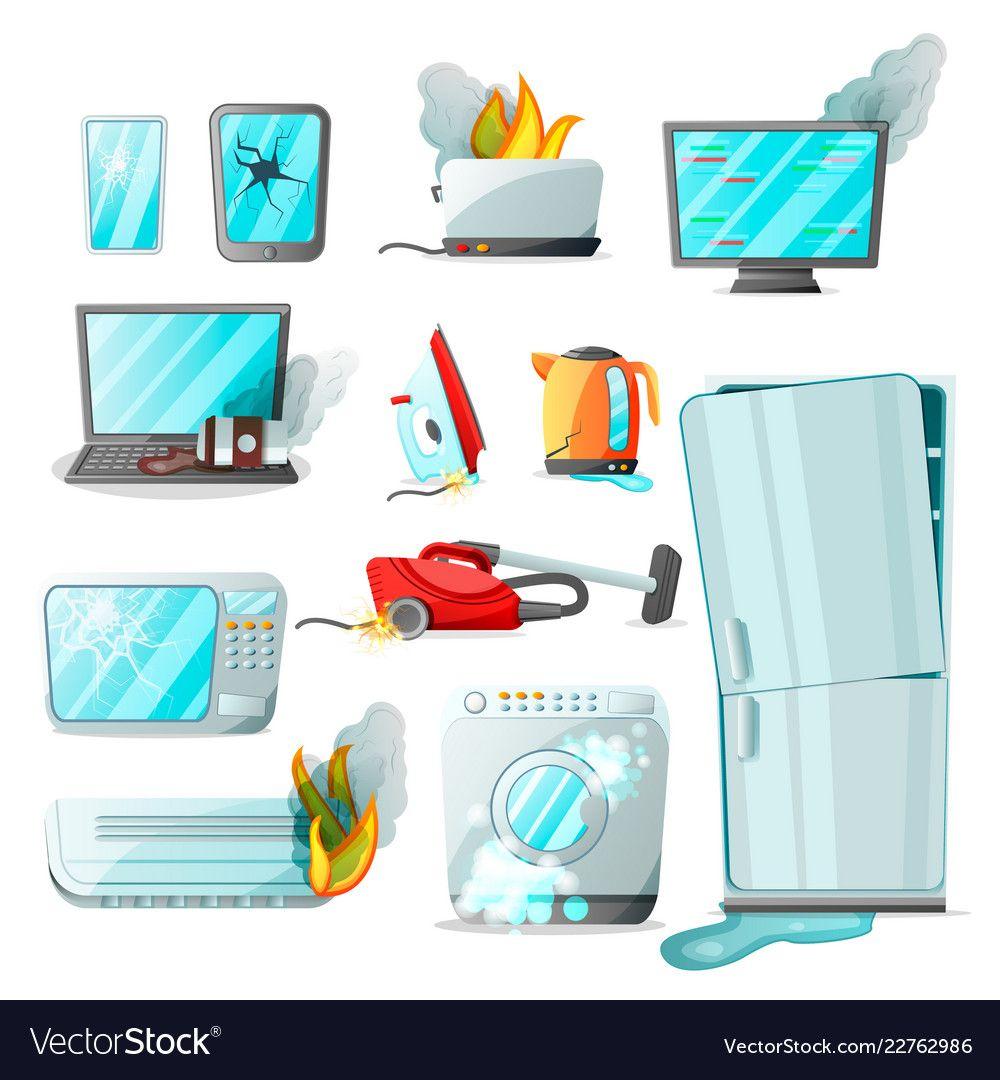 Cartoon flat consumer electronics home appliances vector