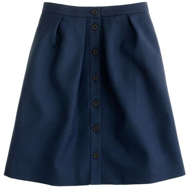 0827a6a1aa Flair Skirt In Double-Serge Wool ($50) ❤ liked on Polyvore featuring skirts,  j.crew, bottoms, navy, wool skirt, long navy skirt, navy blue long skirt,  ...