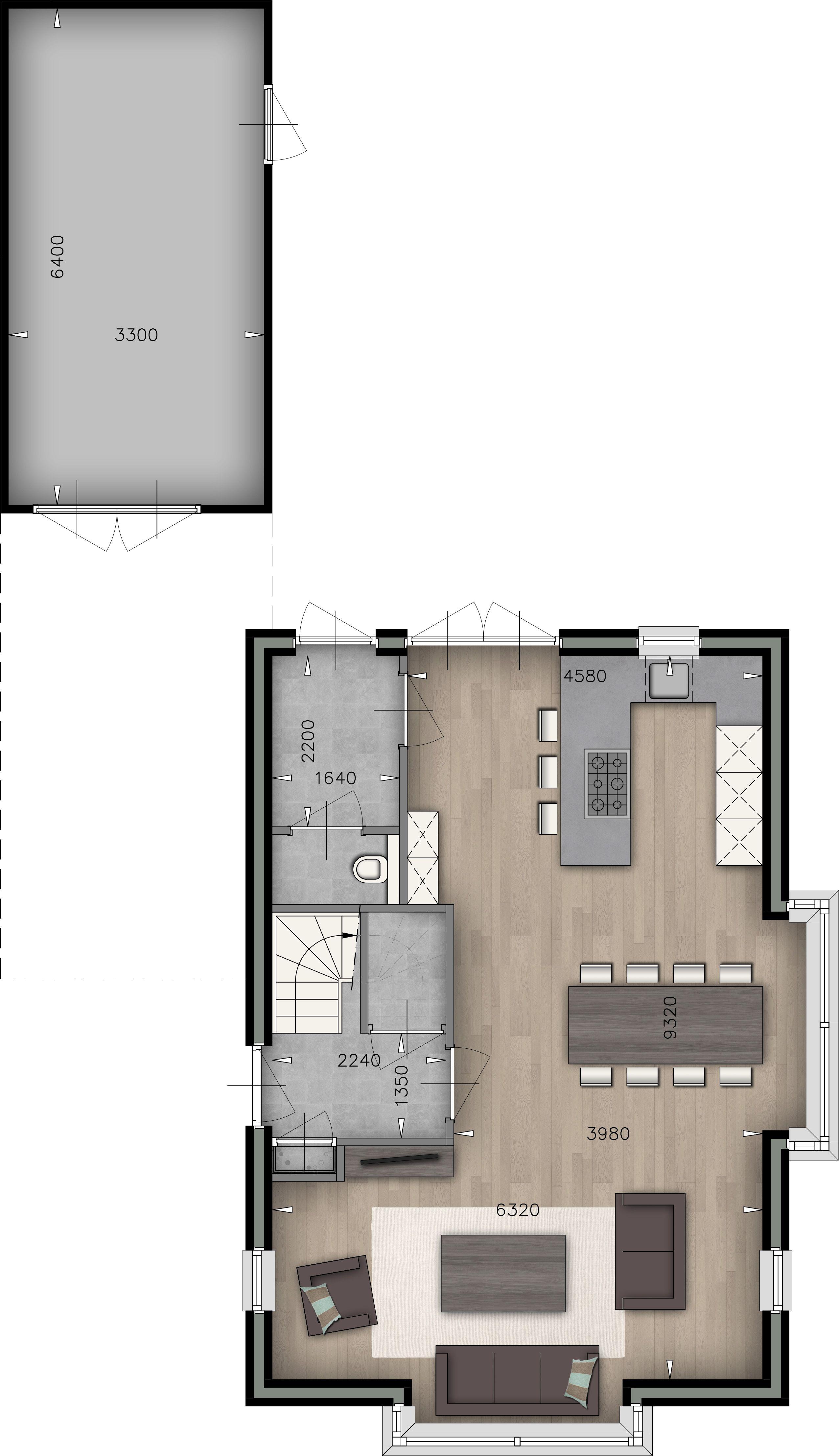 Plattegrond Woonkamer | Keuken | WC | Garage - doorsnede maken ...