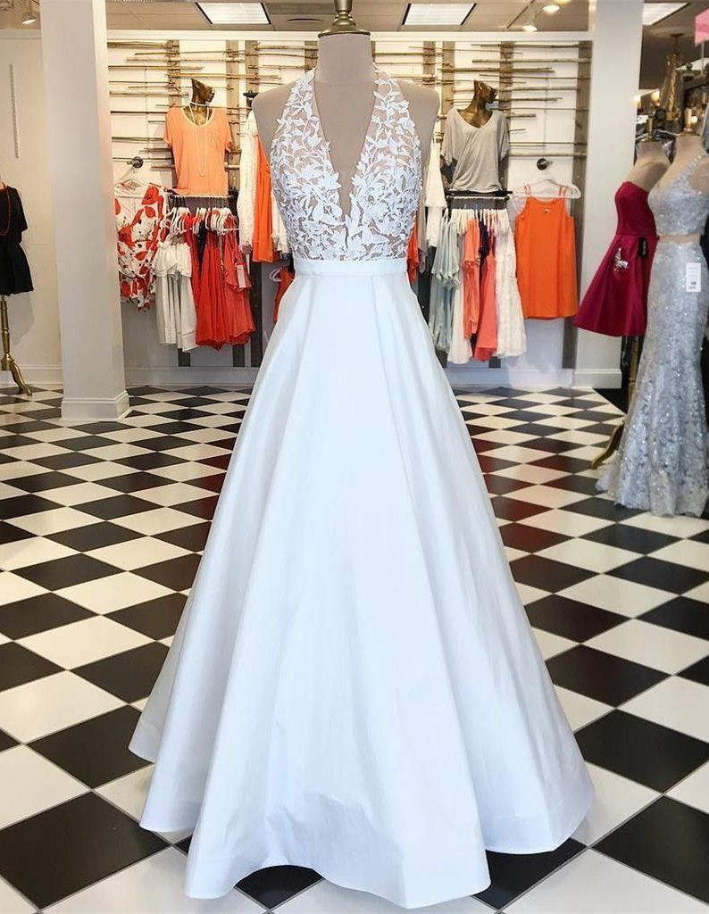 Appliques sleeveless a line tulle prom dress sexy prom dress long
