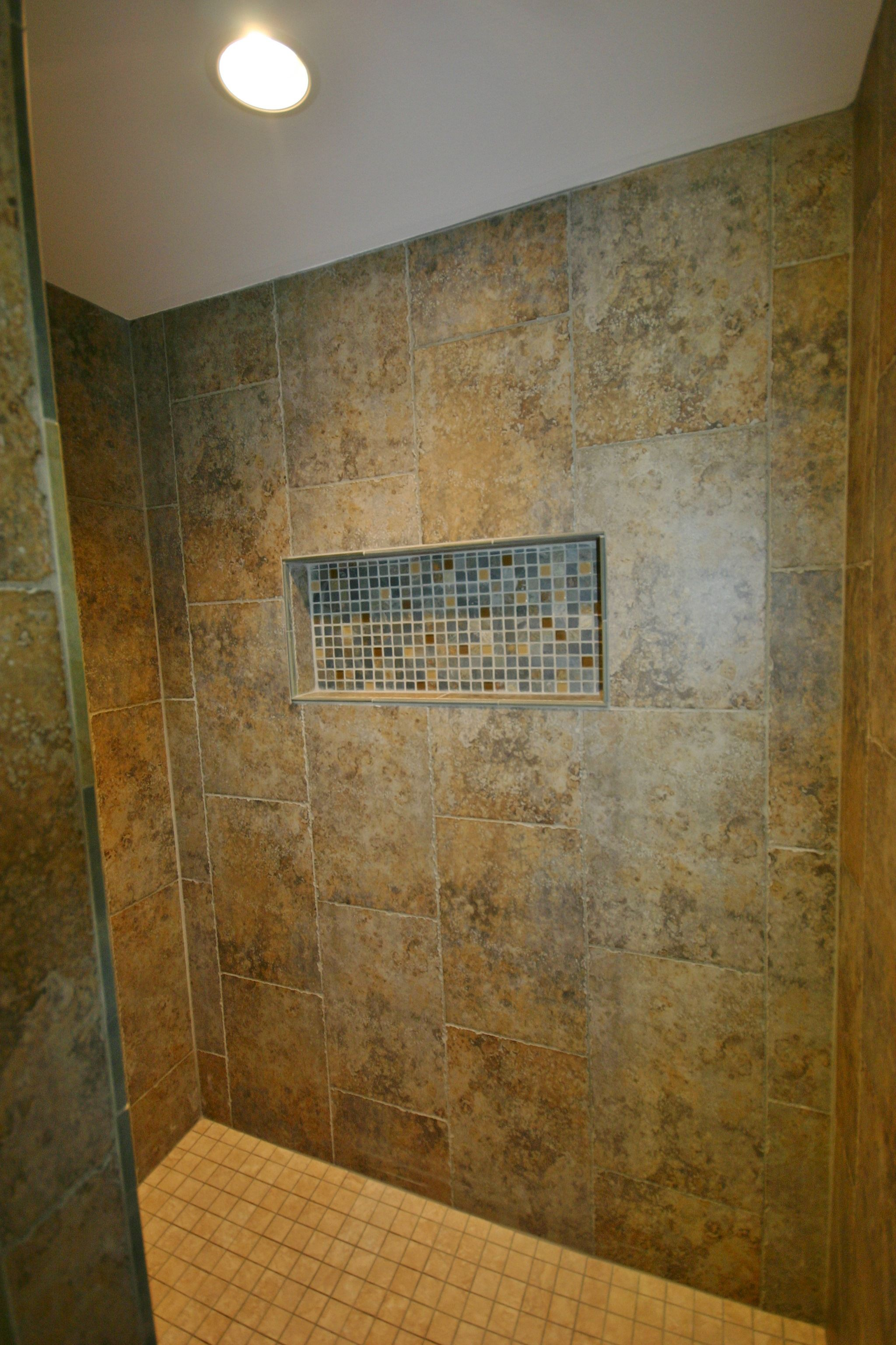 Bat Bathroom Walk In Tile Shower With Waterproof Recessed Can Light And Large Shampoo Niche