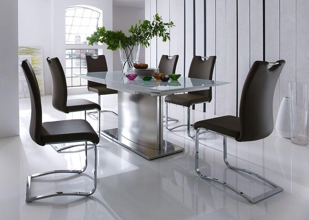 Esstisch Helios Weiß HG mit Stühlen Kölner SW 5759 Buy now at