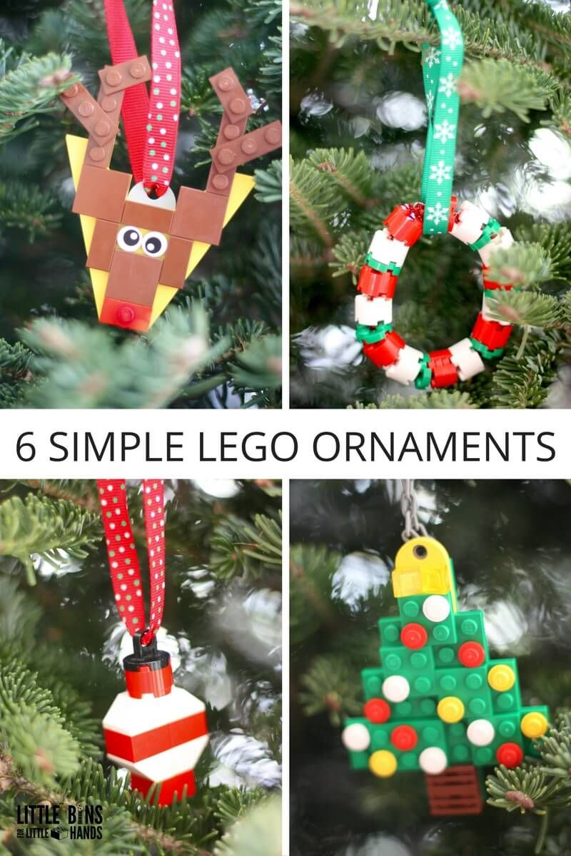 Simple to make lego christmas ornaments for kids to make lego