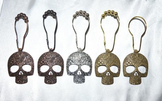 Sugar Skull Shower Curtain Hooks Set Of 12 Candy Skull Calavera Day Of The Dead Skeleton Gothic In 2019 Products Sugar Skull Shower Curtain Skull Sho