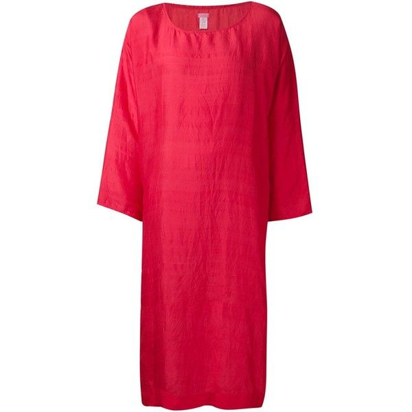 13f48c27fdef Dosa oversized tunic dress (37,335 INR) ❤ liked on Polyvore featuring  dresses, red, silk dress, red dress, red silk dress, dosa and oversized  dress
