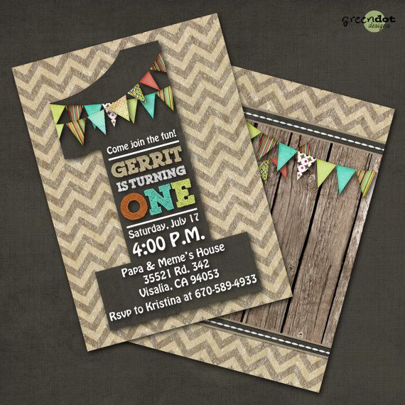 One Year Old Birthday Party Invitation Western Cowboy Rustic Chevron Burlap Vintage Custom Digital Print Yourself