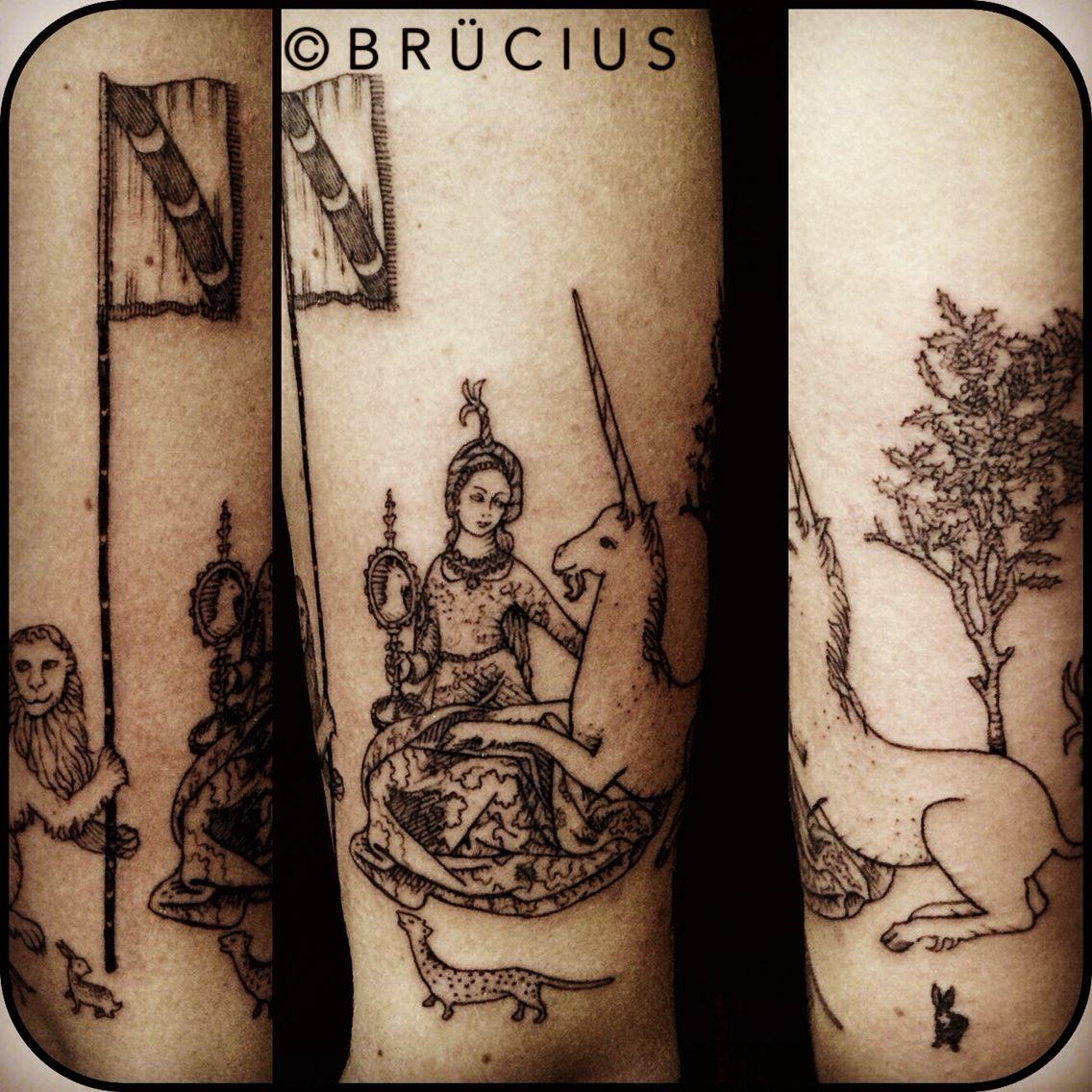 Brucius Tattoo Sf Sanfrancisco Brucius Engraving Etching Dotwork Linework Blackwork Tapestry Lady Unic Left Arm Tattoos Unicorn Tapestries Tattoos