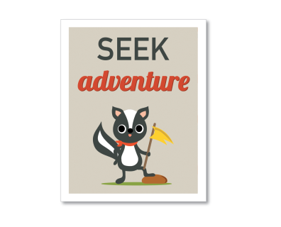 SEEK ADVENTURE! Go outside, marvel at the beauty of our natural world. As we increasingly face threats of industrialization and global warming, coupled with the proposed defunding of our National Parks and other natural landmarks, it's imperative we understand the value they hold not only for ourselves, but for future generations. I illustrated this print for kid's rooms (though it's appropriate for all of us!) to encourage kids to feel that adventure can be found everyday if they just take…