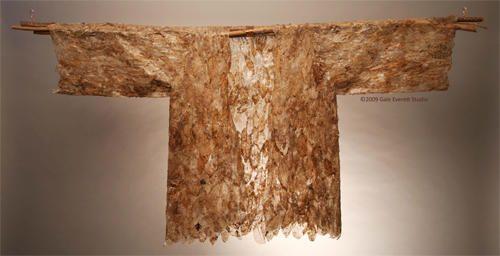 Gale Everett | Ash leaf skeleton paper on plum branch/copper pole