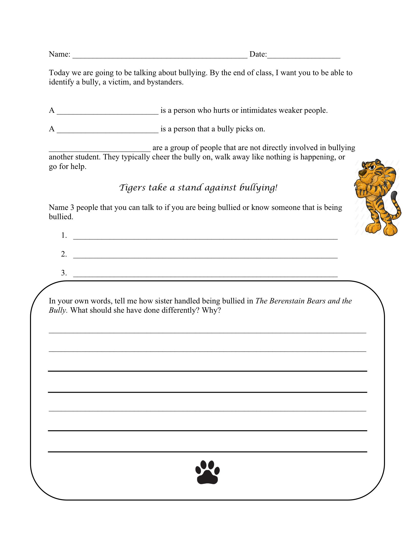 Bullying Worksheet to go along with The Berenstain Bears and the Bully.   Bullying  worksheets [ 2200 x 1700 Pixel ]