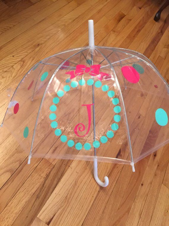 Monogrammed Umbrella Child Size Personalized Great Gift Monogram Clear Dome Clearumbrella
