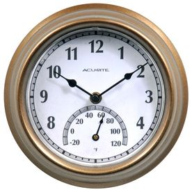 Acurite 8 5 Bronze Indoor Outdoor Clock With Thermometer Now Available At Lowes