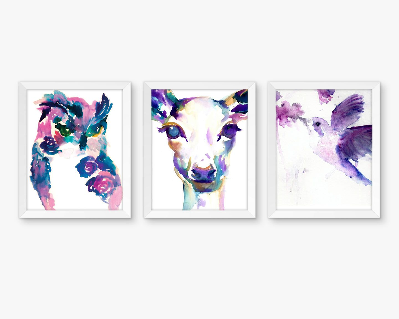 Pink And Purple Baby Nursery Artwork Woodland Animal Nursery Art