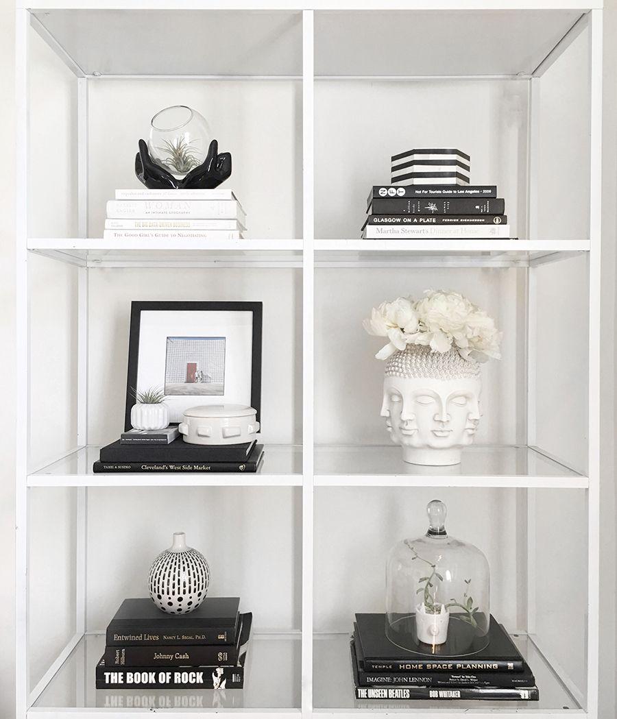 Monochrome Styling With Meg Quinn Front Main White Bookshelf Decor White Bookshelves Black And White Decor