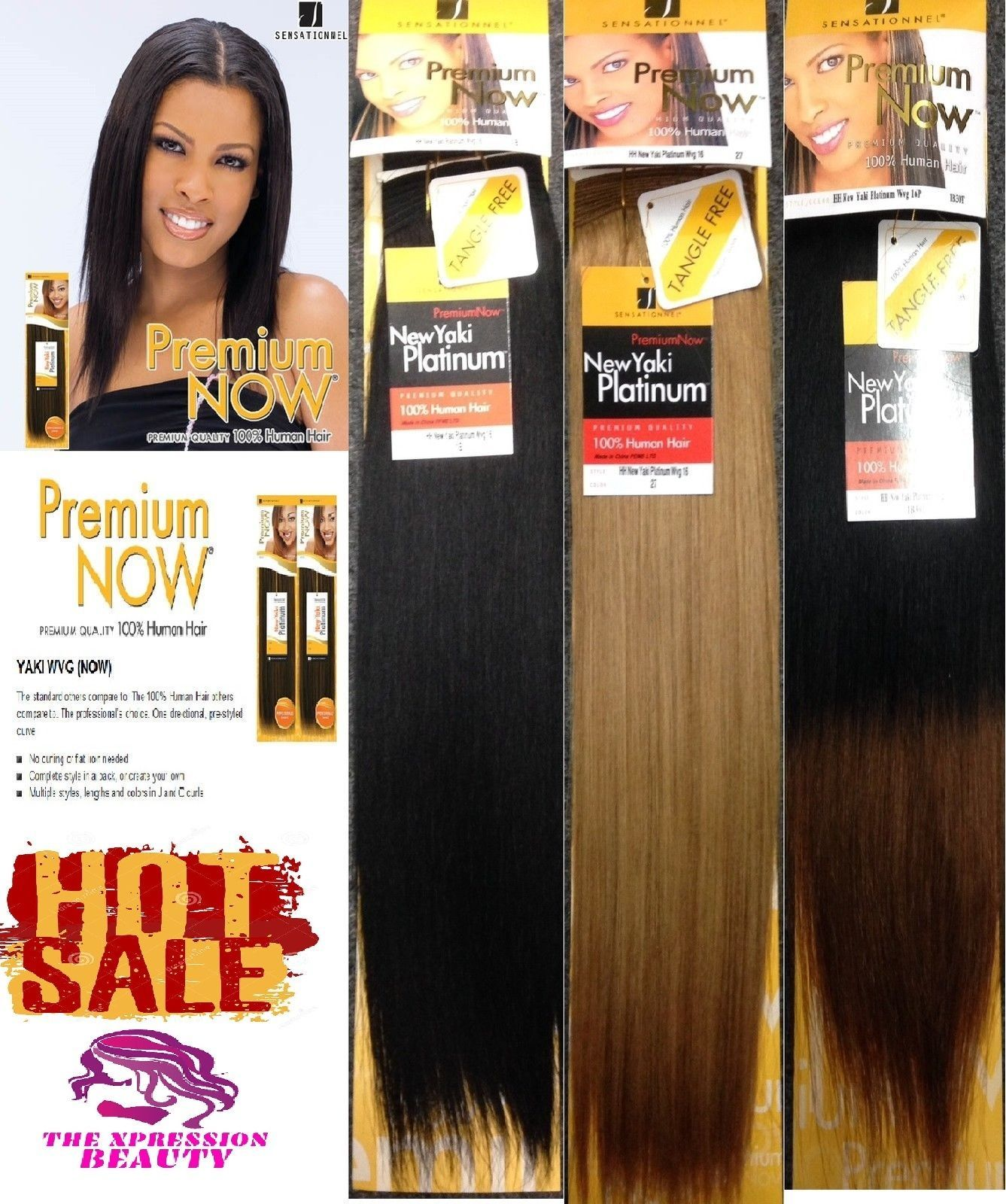 Sensationnel Premium Now Yaki Platinum Human Hair Weave 14inch The Xpression