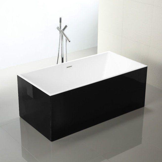 1500 Mm Square Black Freestanding Bath