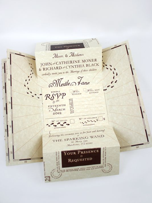 Harry Potter Marauder S Map Wedding Invitations Absolutely Beautiful