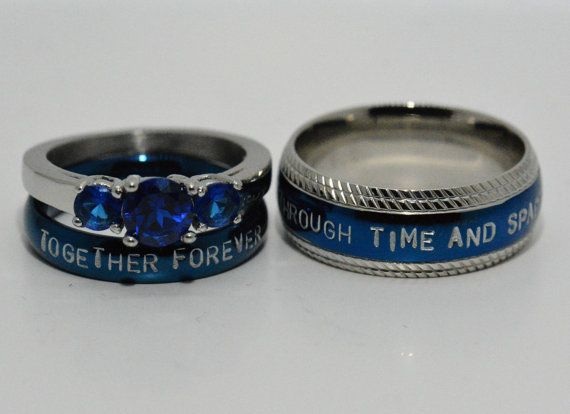 Doctor Who Inspired 3 Piece Wedding Set Hand Stamped Stainless Steel And Cz Sapphire Sci Fi Inspired Coupl Couple Wedding Rings Wedding Rings Wedding Ring Sets