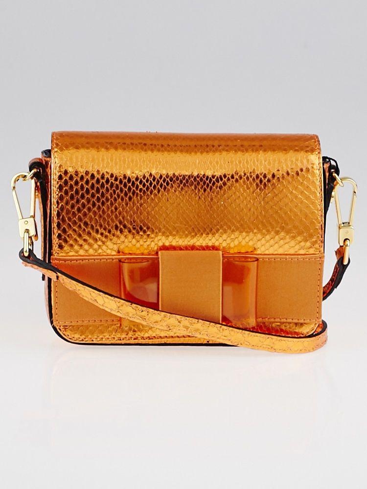 b3e22dcf0588 Burberry Bright Poppy Orange Metallic Snakeskin Berkeley Mini Crossbody Bag  #Burberry #EveningBagsEverydayBags