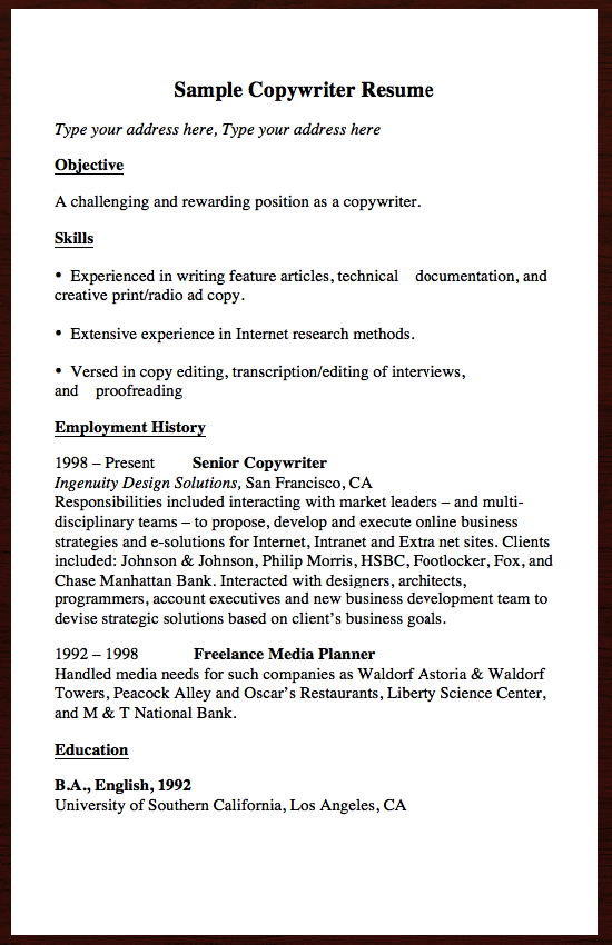 If You Are Looking For A Job Related Copywriter And You Want To Know How To Create Or Submit Your Own Professional Looking Resume Then Here We Are Going To S