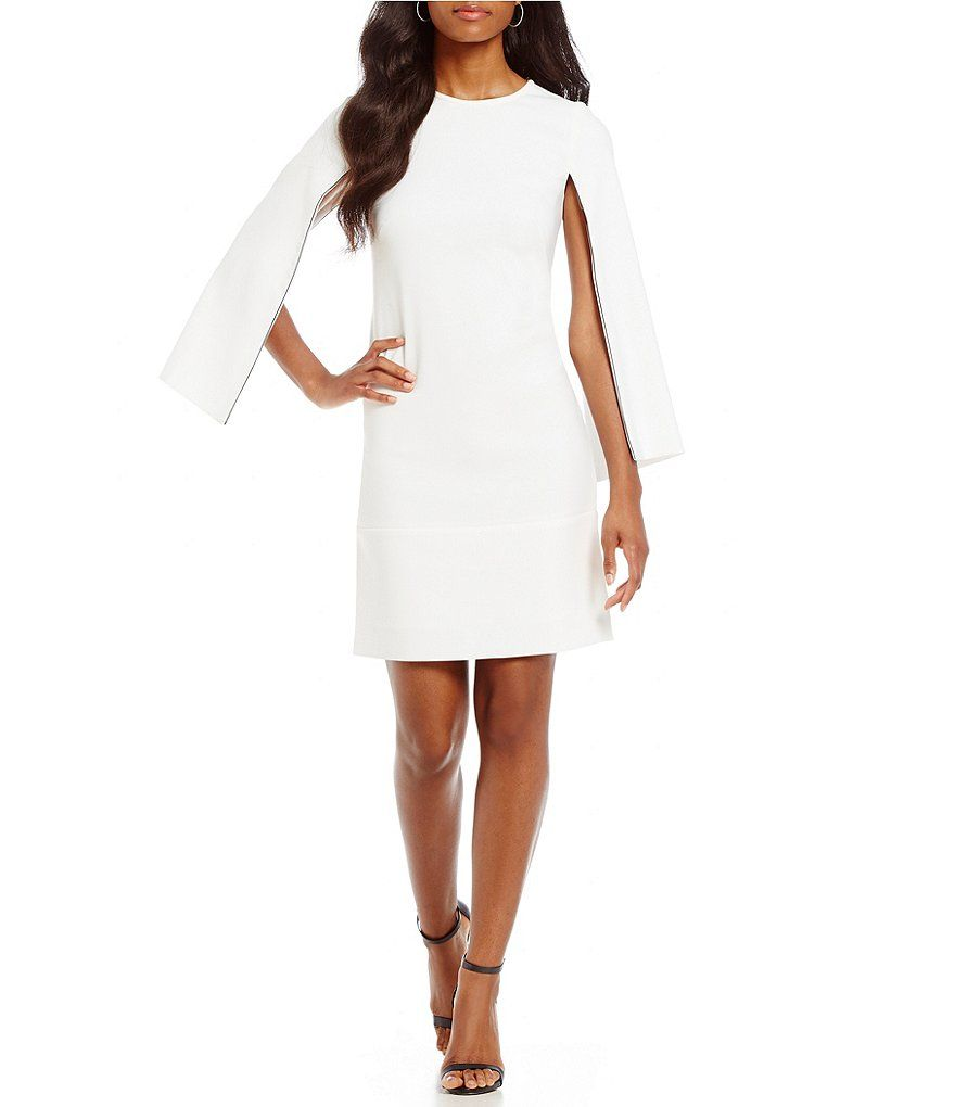 White Dkny Split 3 4 Sleeve Shift Dress Dresses Casual Dresses Womens Dresses [ 1020 x 880 Pixel ]
