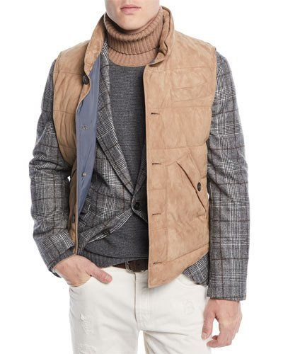 22702aa4e ... Designer Collection at Neiman Marcus. Brunello Cucinelli Men's Quilted  Suede Button-Front Vest
