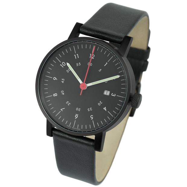V03 Date in brushed IP black with black strap for VOID, designed by David Ericsson. Available at Dezeenwatchstore.com #watches