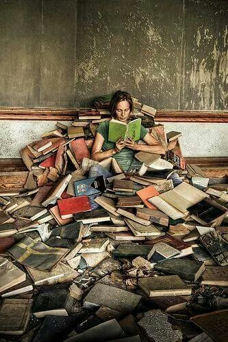Image result for buried under books