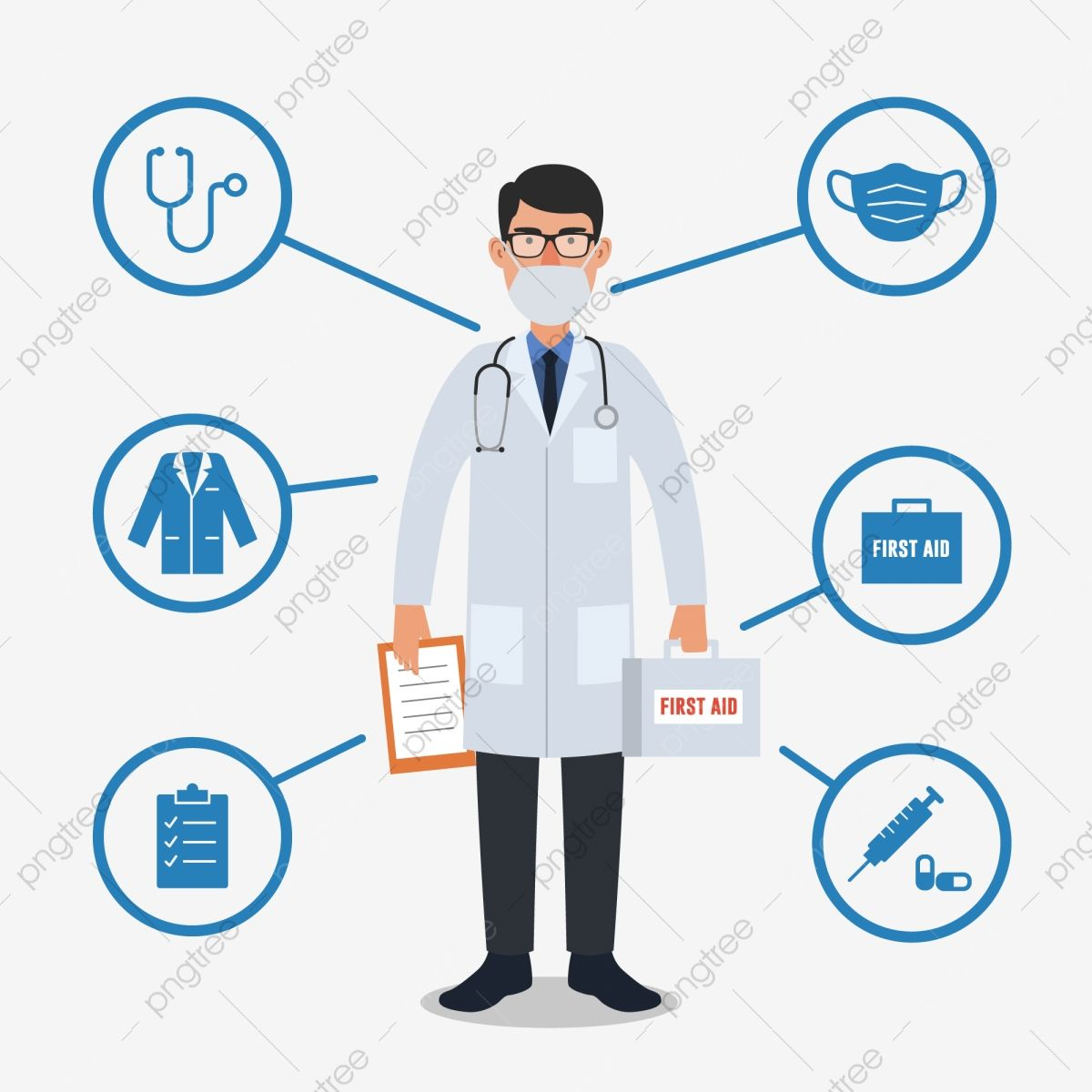 Doctor With Medical Equipment Stethoscope Doctor Clipart First Aid Box Injection Png And Vector With Transparent Background For Free Download Logo Design Free Templates Medical Equipment Logo Design Free