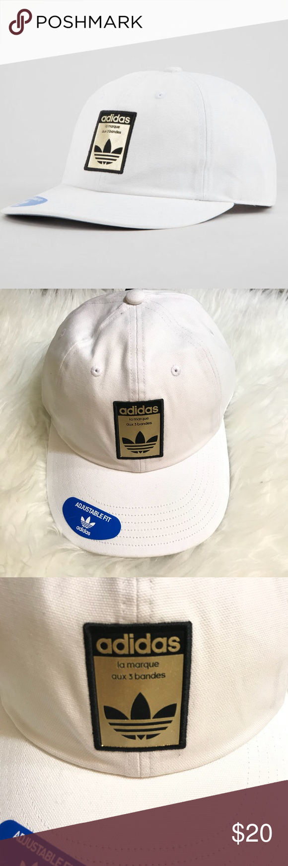 9a187aa703f Adidas Originals Relaxed Base White Strapback Hat Adidas Originals Relaxed  Base strapback hat. Metallic gold adidas Trefoil patch on the front.