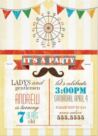 Carnival Amut Park Theme Boy S Birthday Party Invitations Customize It With Your Own Information Boys