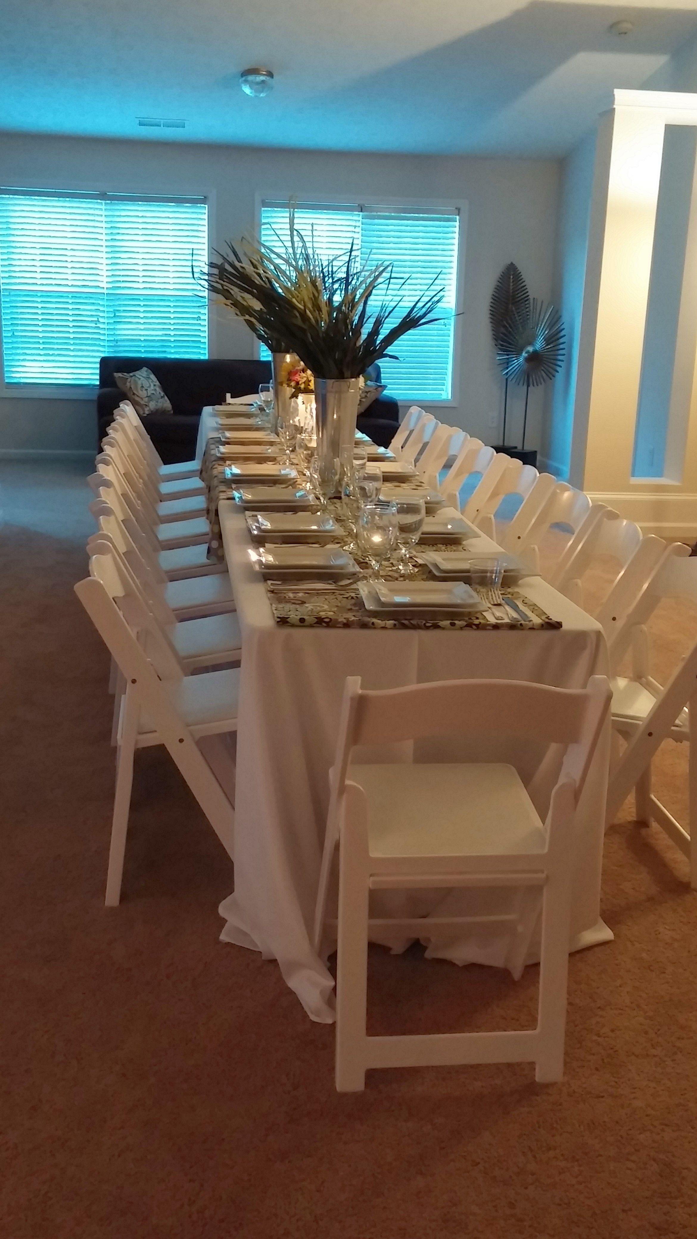 Great Formal Dinner Atlanta Rental White Resin Chair Table
