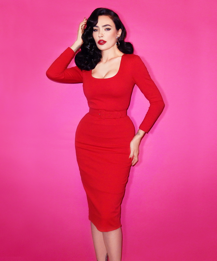 COMING BACK - Troublemaker Wiggle Dress in Ravishing Red