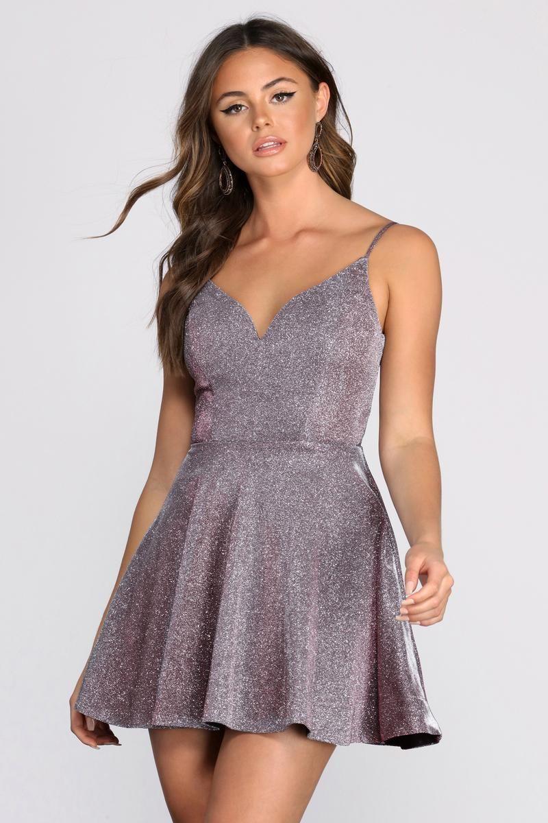 Layla Metallic Skater Dress In 2021 Hoco Dresses Short Windsor Dresses Homecoming Elegant Dresses For Women [ 1200 x 800 Pixel ]