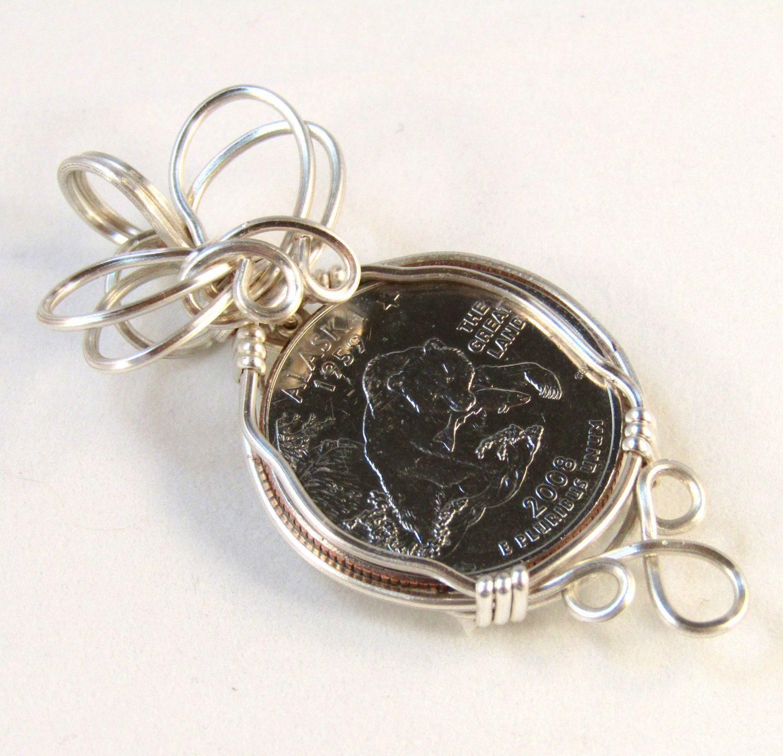Alaskan State Quarter Pendant, Coin Pendant, Wire Wrapped Pendant ...