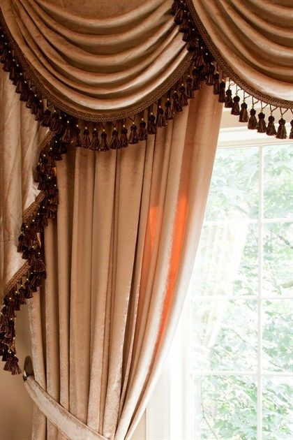 Pearl Dahlia Swags And Tails Valance Curtain Set Living Room Decor Curtains Elegant Curtains Elegant Draperies