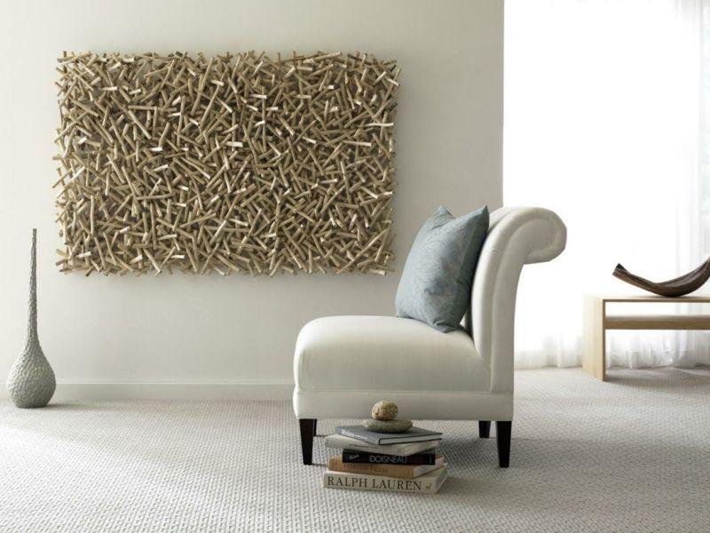 Wanddekoration aus Holz Stäben für ein modernes Wandbild - wanddekoration selber machen