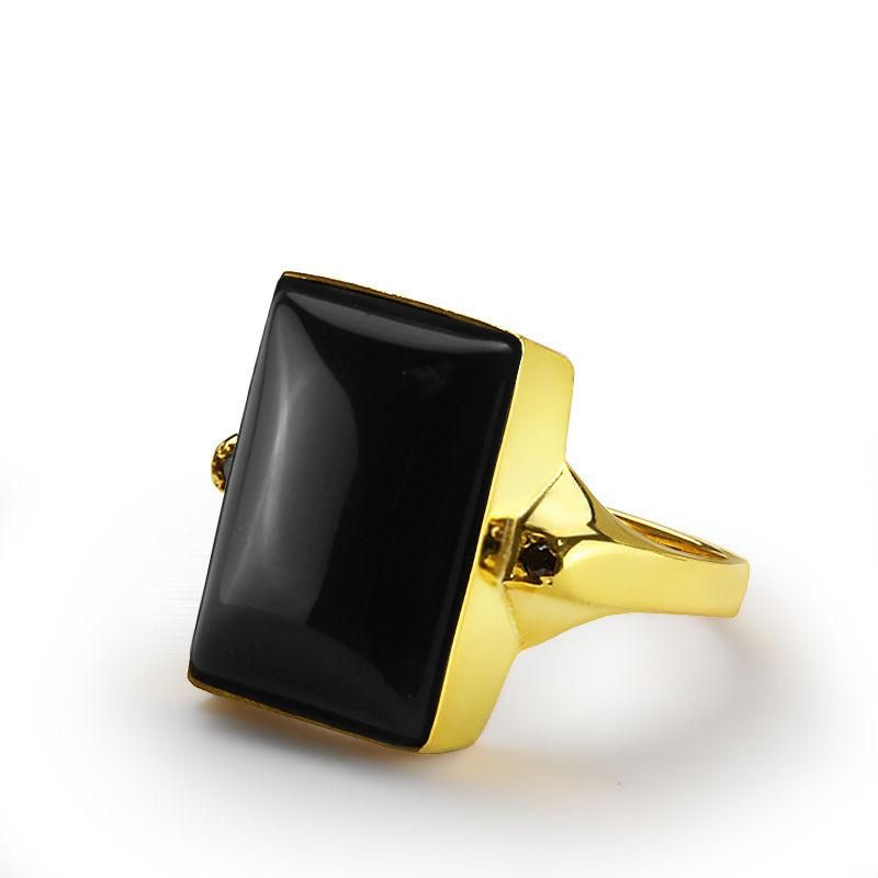 Men S Ring With Onyx In 10k Yellow Gold Natural Black Stone Ring For J F M Jewelsformen Goldring Yellow Gold Mens Rings Stone Rings For Men Mens Gold Rings