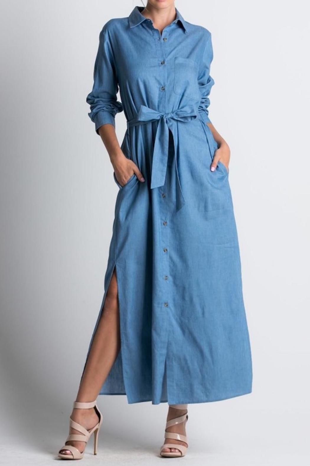 Long sleeve denim maxi dress